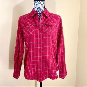 🦋COLUMBIA Western Style VNeck Plaid Flannel Shirt
